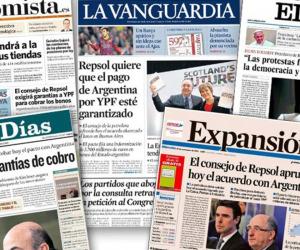 Portadas de periódicos españoles.